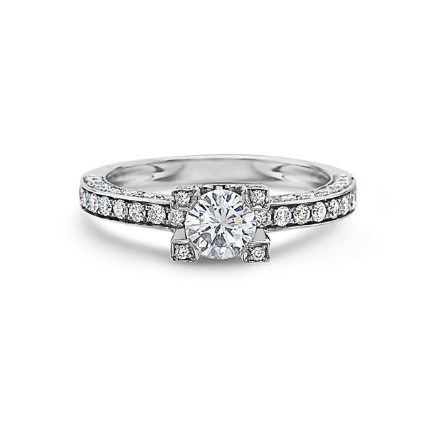 MADE IN ITALY PAVE DIAMONDS ENGAGEMENT SOLITAIRE RING