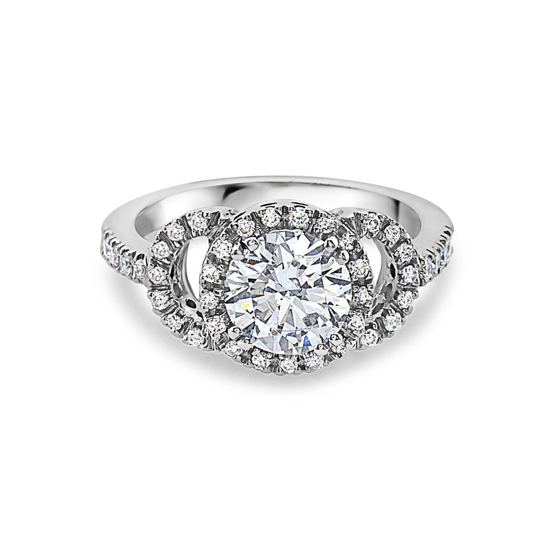 MADE IN ITALY SOLITAIRE HALO ENGAGMENT RING, WOMEN RING, SEVEN50 WOMAN, SEVEN50 GROUP USA - SEVEN-50.COM