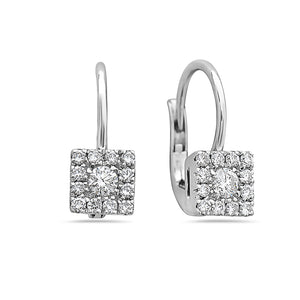 MADE IN ITALY SQUARE CLUSTER ILLUSION ROUND DIAMONDS EARRINGS