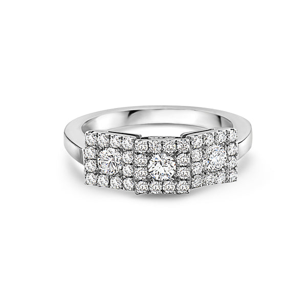 MADE IN ITALY SQUARE CLUSTER ILLUSION ROUND DIAMONDS WEDDING BAND RING