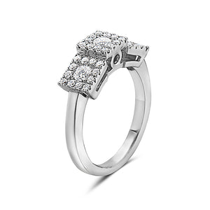 MADE IN ITALY SQUARE CLUSTER ILLUSION ROUND DIAMONDS WEDDING BAND RING, WOMEN RING, SEVEN50 WOMAN, SEVEN50 GROUP USA - SEVEN-50.COM