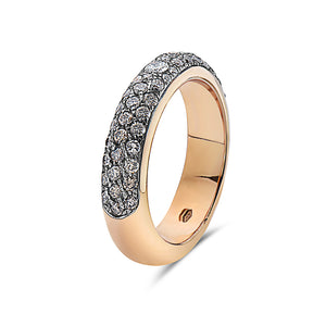 MADE IN ITALY YELLOW GOLD BROWN DIAMONDS HALF BAND PAVE SET RING, WOMEN RING, SEVEN50 WOMAN, SEVEN50 GROUP USA - SEVEN-50.COM
