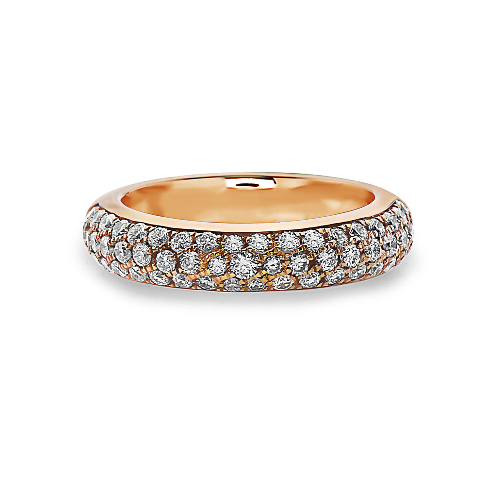 MADE IN ITALY YELLOW GOLD HALF BAND PAVE SET RING, WOMEN RING, SEVEN50 WOMAN, SEVEN50 GROUP USA - SEVEN-50.COM
