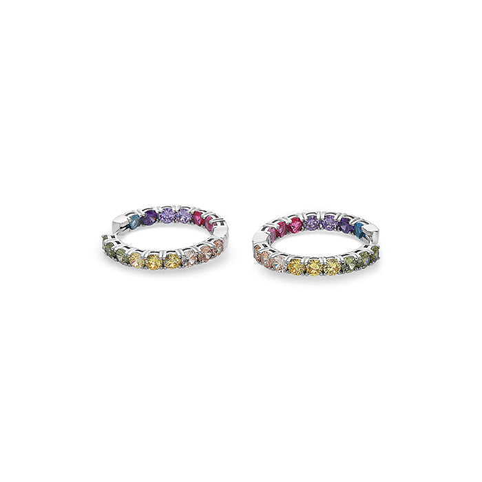 WHITE MULTICOLORED GEMSTONES HOOP EARRINGS IN STERLING SILVER