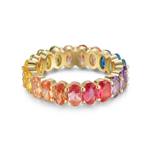 MULTICOLORED OVAL ETERNITY STERLING SILVER BAND RING