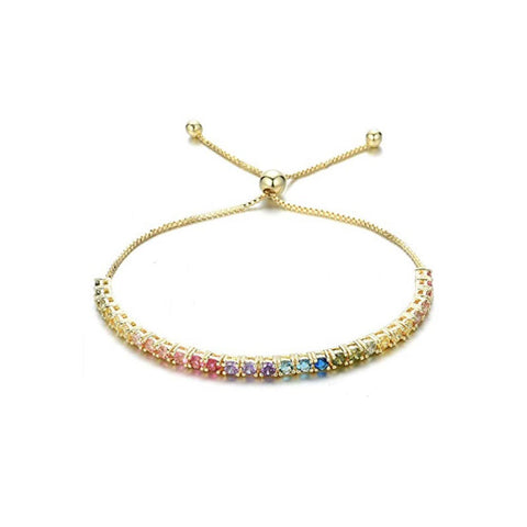 YELLOW GOLD MULTI SAPPHIRE MULTICOLOR BOLO ADJUSTABLE TENNIS BRACELET