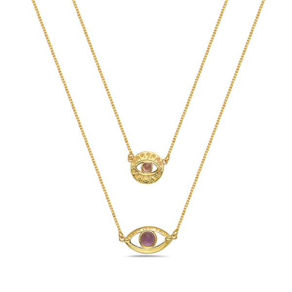MAOR LUZ 14K GOLD PLATED STERLING SILVER PURPLE STONES DOUBLE EYES SCAPULAR NECKLACE
