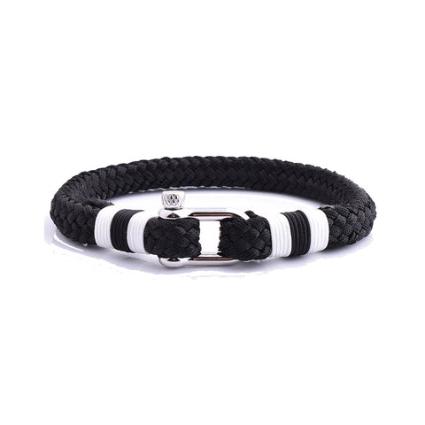 Men'S-Stainless-Steel-Shackle-Black-Cotton-Thread-Bracelets-Souvenir-cuff-hook-bracelet