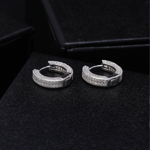Minimal And Dainty Pave 16 cmm Hoops Earrings Stainless Steel