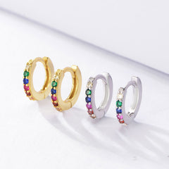 Sterling Silver Minimalist & Dainty CZ Second Hole Huggie Hoop Earrings , Multicolor hoops earrings, rainbow hoops earrings ,rainbow huggies