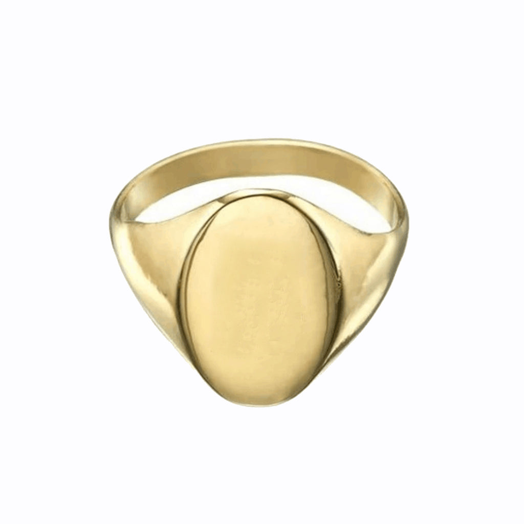 OVAL STAINLESS STEEL GOLD SIGNET RING by seven50