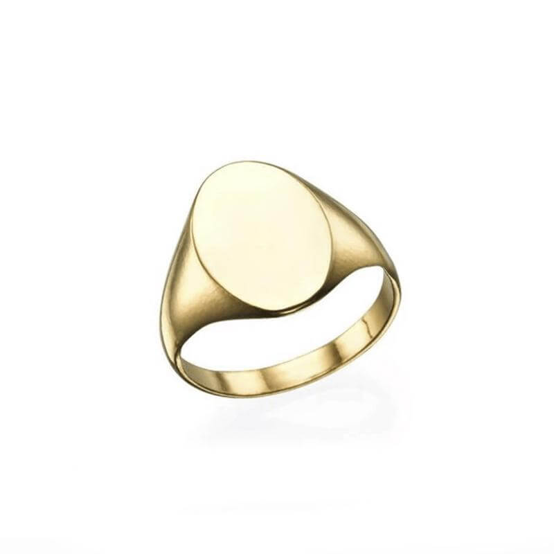 OVAL STAINLESS STEEL GOLD SIGNET RING