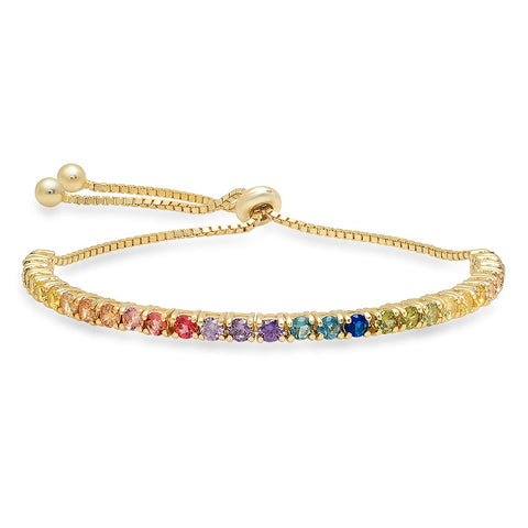 RAINBOW PRONG SET PULL TENNIS BRACELET by SEVEN50