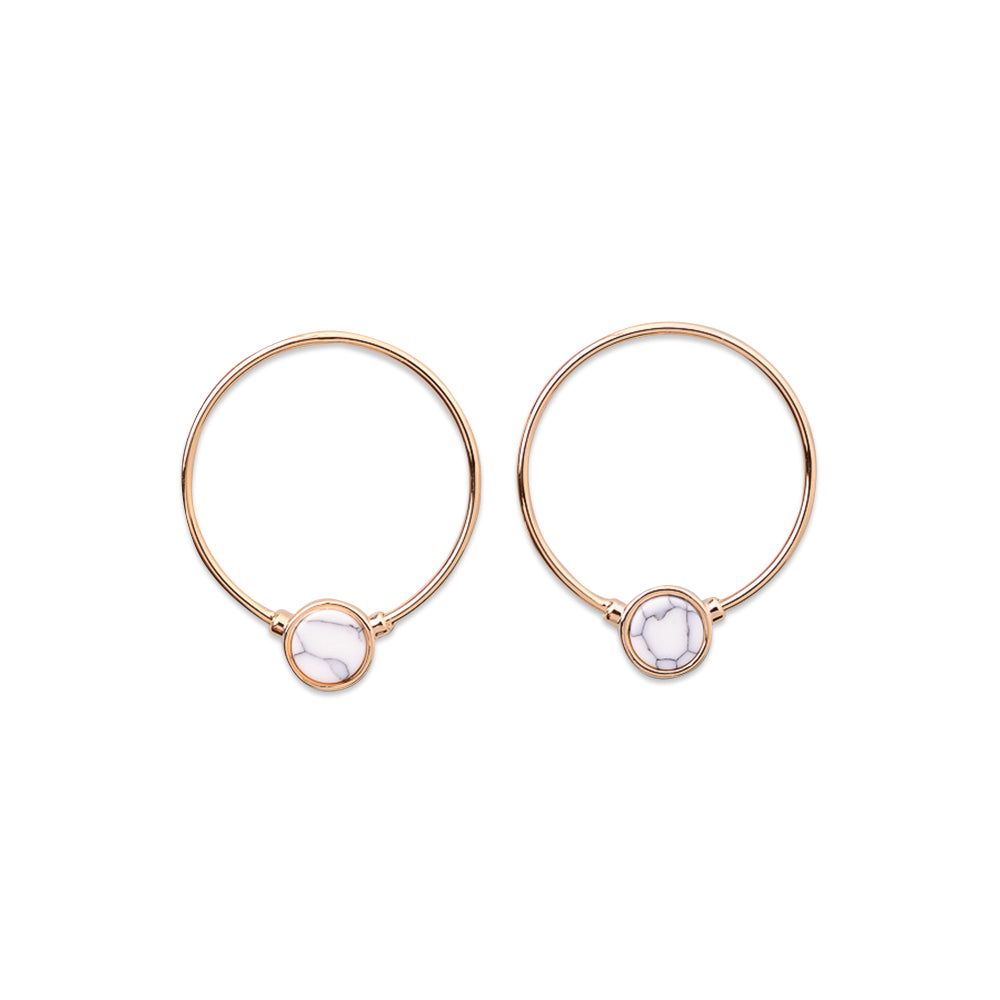 CIRCULAR STONE CHARM HOOP Earrings, EARINGS, ROSES CLOUD JEWELRY, SEVEN50 GROUP USA - SEVEN-50.COM