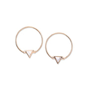 TRIANGLE STONE CHARM HOOP Earrings