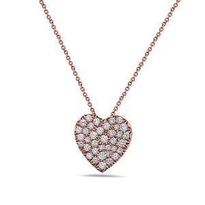 SEVEN50 | ROSE GOLD MADE IN ITALY 18K HEART SHAPE PAVE DIAMOND NECKLACE