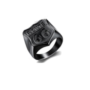 ROUTE 66 SIGNET RING BY SEVEN50 IN STAINLESS STEEL