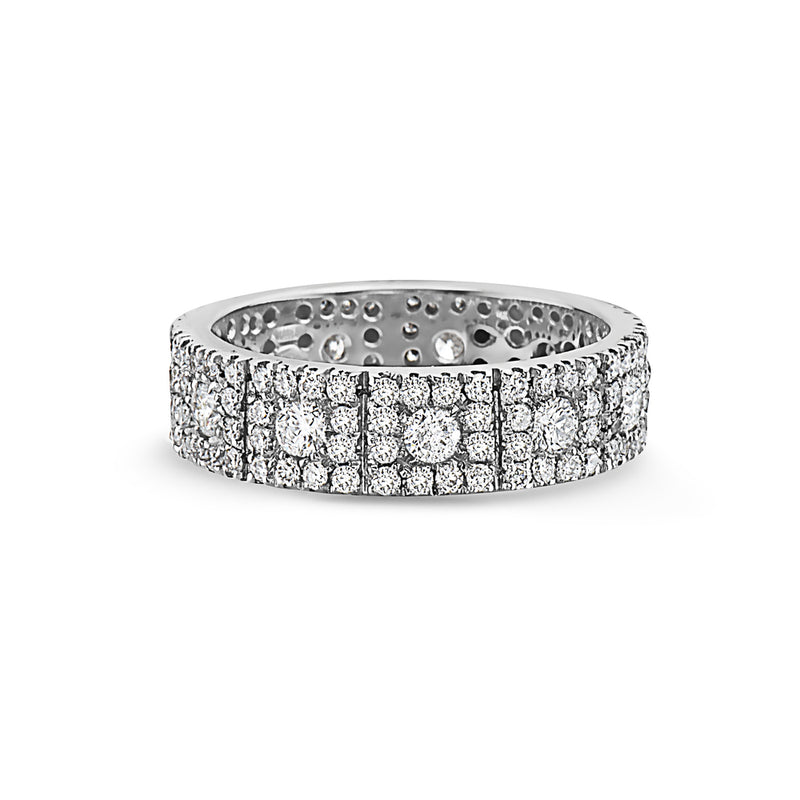Round Diamonds square shape Halo wedding band ring by SEVEN50 2