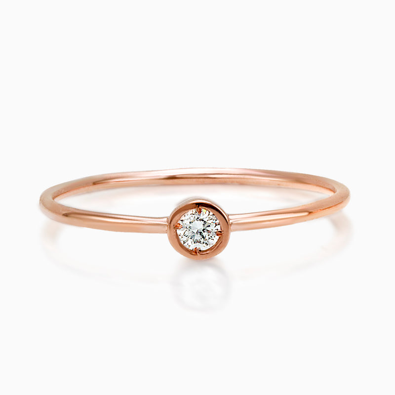 BANGLE SOLITAIRE ROSE Gold DIAMOND RING, WOMEN RING, MUSE, SEVEN50 GROUP USA - SEVEN-50.COM MADE IN ITALY DIAMOND SINGLE BEZEL STACK RING  |  SEVEN50