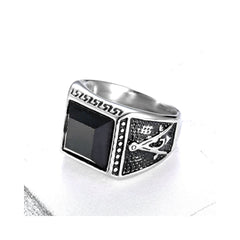 COMPASS BLACK AGATE STAINLESS STEEL RING SEVEN50 IN STAINLESS STEEL