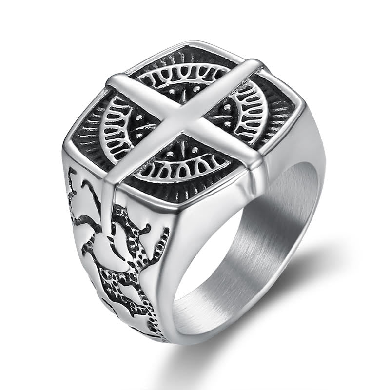 SALE COMPASS MEN STAINLESS STEEL RING BY SEVEN50
