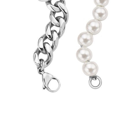 Chrome IP Gold Plated Half 10mm miami cuban link chain and half 8mm pearls bracelet for Men and Women in Stainless Steel