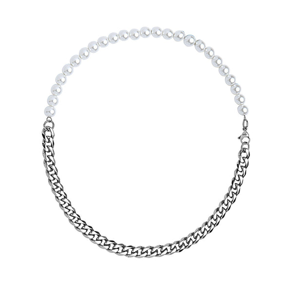 HALF WHITE 8MM WHITE PEARLS AND HALF 10MM CUBAN LINK CHOKER NECKLACE