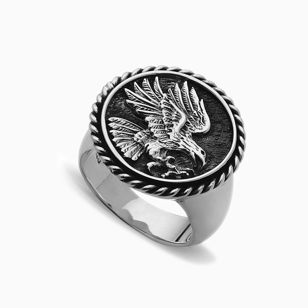 SPIZOIKY SIGNET COIN EAGLE RING