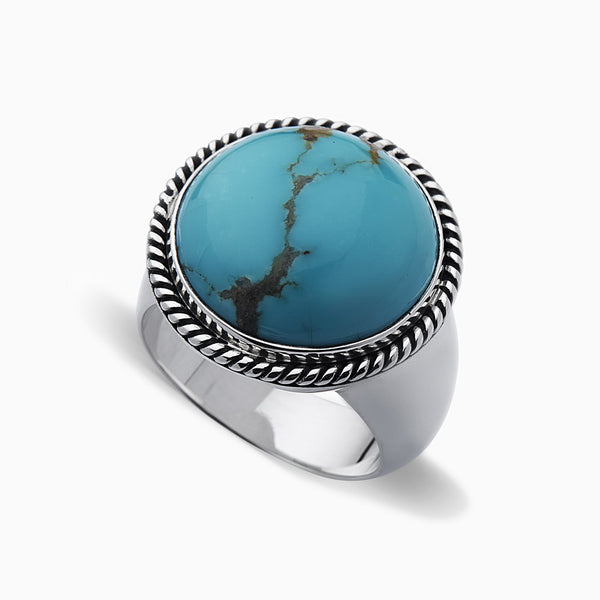 SPIZOIKY SIGNET COIN TURQUOISE RING