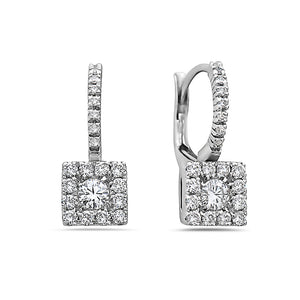 SMALL MADE IN ITALY SQUARE CLUSTER ILLUSION ROUND DIAMONDS DROP EARRINGS