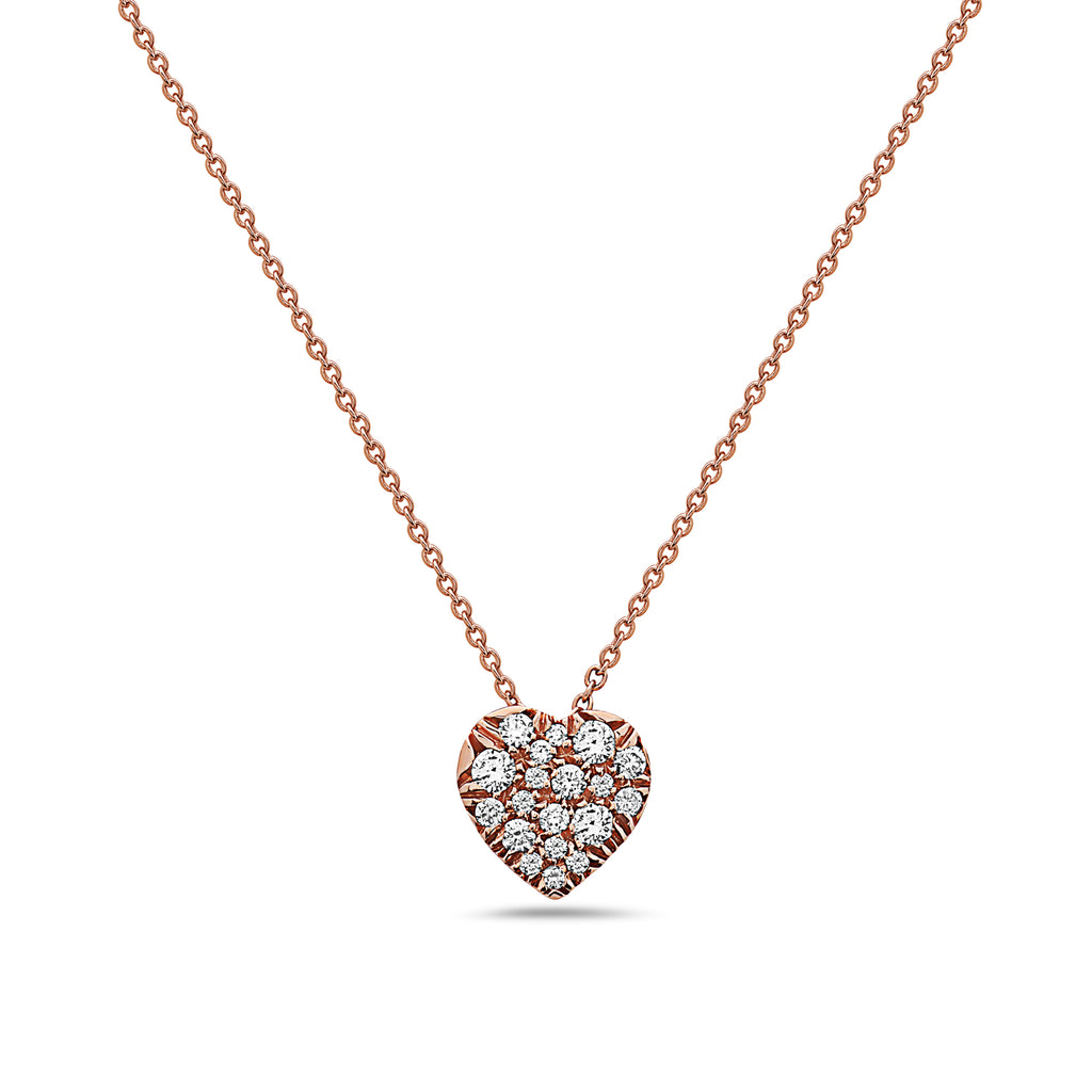SEVEN50 | SMALL ROSE GOLD MADE IN ITALY 18K HEART SHAPE PAVE DIAMOND NECKLACE