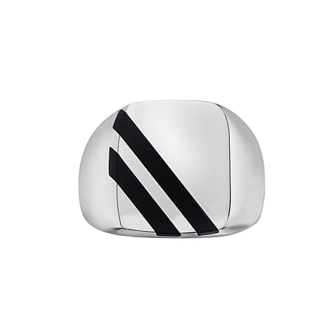 SQUARE SIGNET BLACK ONYX BARS RING by seven50