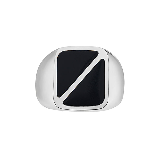 TRIANGLE PATTERN BLACK ONYX SQUARE SIGNET RING