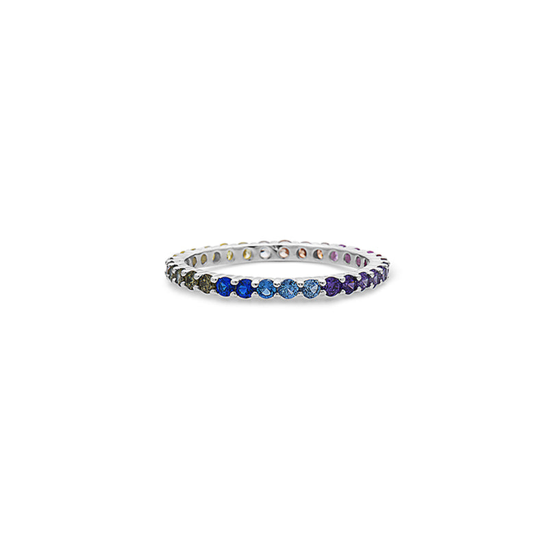 STERLING SILVER MULTICOLORED GEMSTONES ETERNITY BAND RING by seven50
