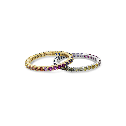 STERLING SILVER MULTICOLORED-GEMSTONES-ETERNITY BAND RING-STERLING-SILVER-BY-SEVEN50