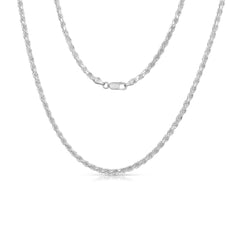 STERLING SILVER MADE IN ITALY 14K 3 MM ROPE CHAIN NECKLACE