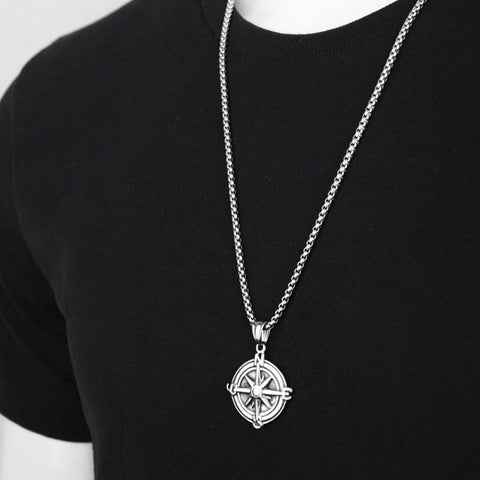 MINIMAL VINTAGE COMPASS PENDANT BOX CHAIN NECKLACE