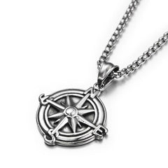 Stainless-Steel-Black-Silver-Vintage-Compass-Anchor-Chain-NEcklace--Anchor-Pendant-Necklace--Anchor-Compass-Necklace--MensFashionJewelry
