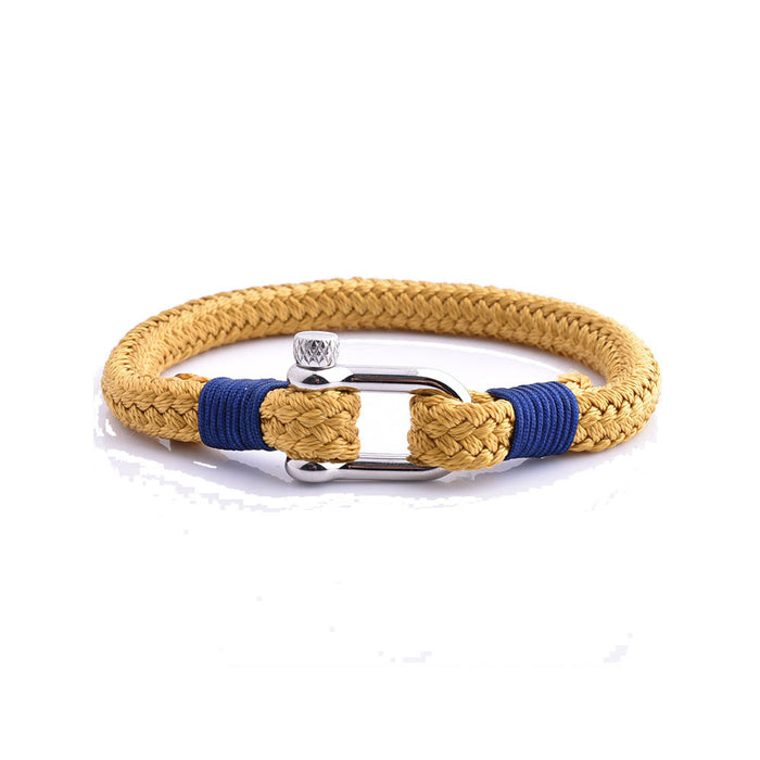 Stainless-Steel-Shackle-Rope-Yellow-Cotton-Cord-Women-Hand-Bracelet