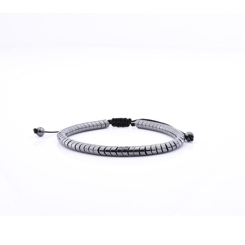 Stainless-Steel-macrame-grey-cylinder-Women-Hand-Bracelet-Recovered
