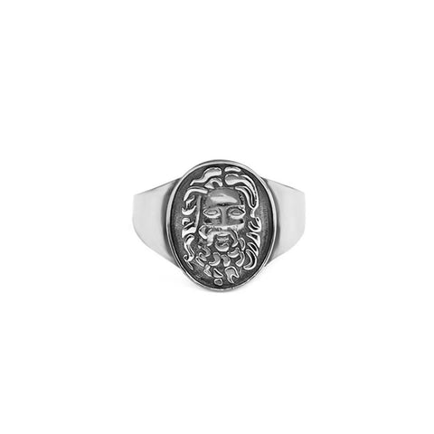 Jesus Round Pinky Ring adjustable