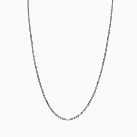 STERLING SILVER MADE IN ITALY 14K 2 MM BOX CHAIN NECKLACE