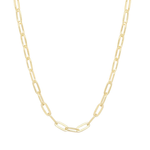 Sterling-Silver-Made-in-Italy-14K--Gold-plated-paper-clip-Chain-Necklace
