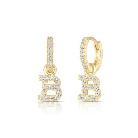 Gold Plated Sterling Silver personalized iniatials Hoops Huggies Earrings Hoop earrings with stones and initial letter, Alphabet Earrings
