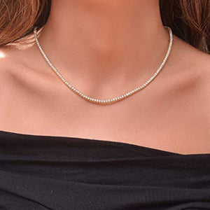 Sterling-Women's-Magnificent-2mm-Round-Cubic-Zirconia-Tennis-Necklace
