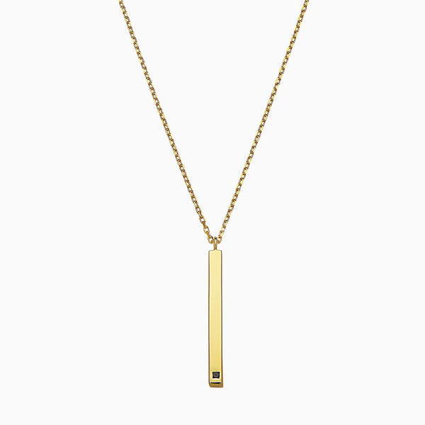 VERTICAL BLACK DIAMOND LINEAR BAR YELLOW NECKLACE