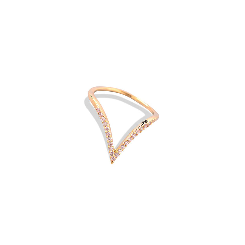 V RING JESSICA MICHEL SERFATY MICHEL JEWELS ACCESSORY JEWELRY DIAMOND ROSE GOLD CHIC VINTAGE BOHO DAINTY SIMPLE for SEVEN50