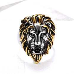 WHITE YELLOW LION HEAD RING IN STAINLESS STEEL BY SEVEN50