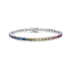 4.00mm WHITE GOLD MULTI SAPPHIRE MULTICOLOR TENNIS BRACELET