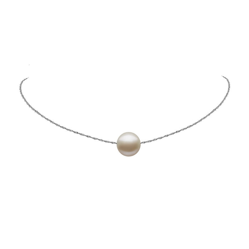 WHITE Gold SINGLE PEARL CHOKER NECKLACE